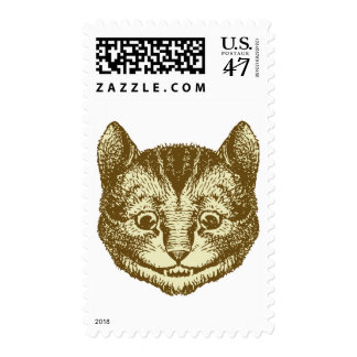 Cheshire Cat Inked Sepia Postage Stamp