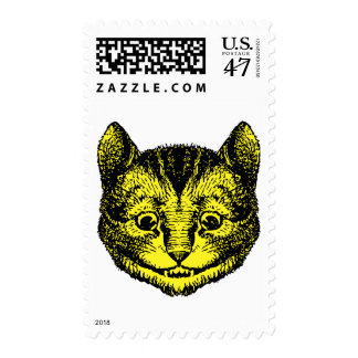 Cheshire Cat Inked Yellow Fill Postage Stamp