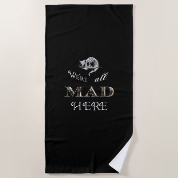 Beach Themed Cheshire Cat Mad Alice Black Beach Towel