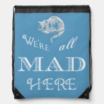 Cheshire Cat Mad Blue Drawstring Backpack