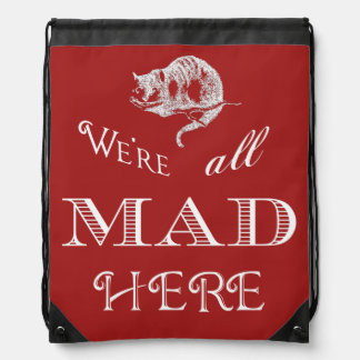 Cheshire Cat Mad Red Drawstring Backpack