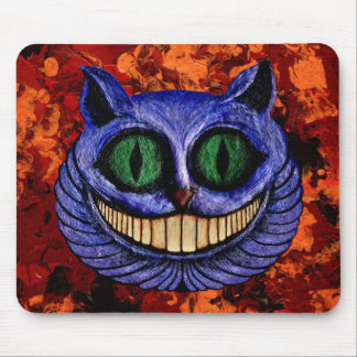 CHESHIRE CAT on RED BILLOWS ~ Mousepads