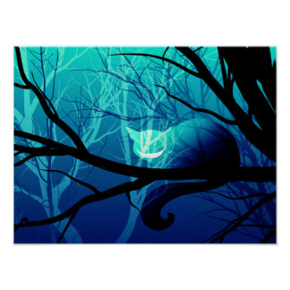 Cheshire Cat Poster - Blue