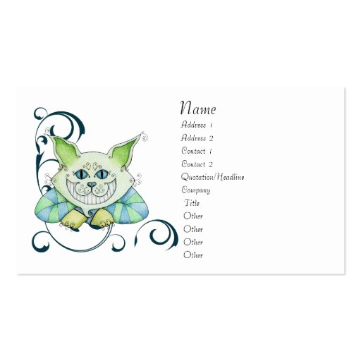 Cheshire Cat Profile Card Double-Sided Standard Business Cards (Pack Of 100)