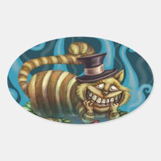 Cheshire Cat Oval Sticker