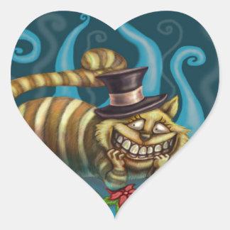 Cheshire Cat Heart Sticker