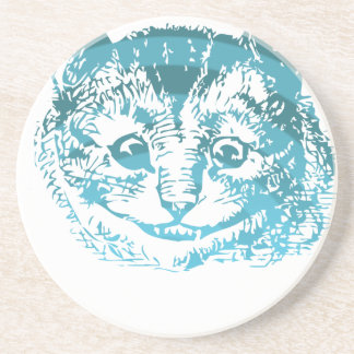 Cheshire Cat Striped Blue Beverage Coaster