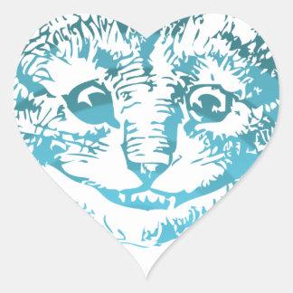 Cheshire Cat Striped Blue Heart Sticker