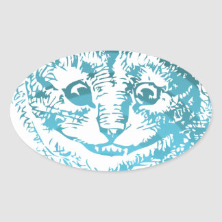 Cheshire Cat Striped Blue Oval Sticker