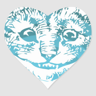 Cheshire Cat Striped Blue Heart Sticker