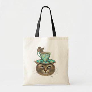 Cheshire Cat with Cup on Head Tote Bag