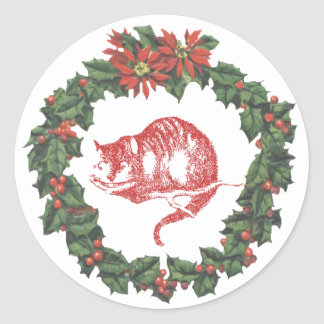 Cheshire Cat Wonderland Wreath Christmas Sticker