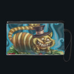 "Cheshire Cat Wristlet<br><div class=""desc"">This Cheshire Cat from Alice in Wonderland Fairytale Fantasy is perfect for Fairy Tale and Alice in Wonderland Fans. I call him The Wonder Cat He wears orange and yellow stripes and a top black hat with a pink ribbon. He is sitting on bed of green and red flowers. Behind...</div>"
