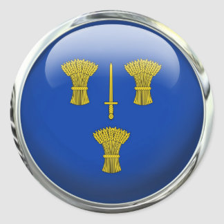 Cheshire County Flag Glass Ball Classic Round Sticker