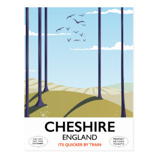 Cheshire, England travel poster Postcard