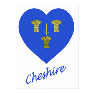 Cheshire Flag Heart with Name Postcard