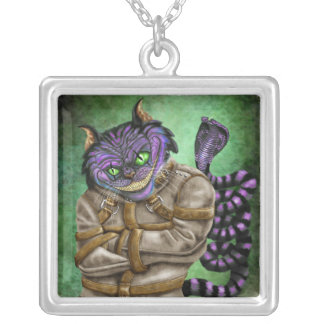 Cheshire grin (Cheshire cat) with snake tail Square Pendant Necklace