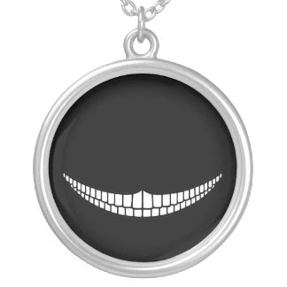 Cheshire Grin Round Pendant Necklace