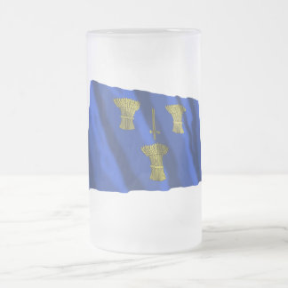 Cheshire Waving Flag Frosted Glass Beer Mug