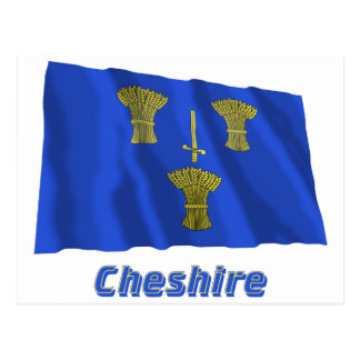 Cheshire Waving Flag with Name Postcard