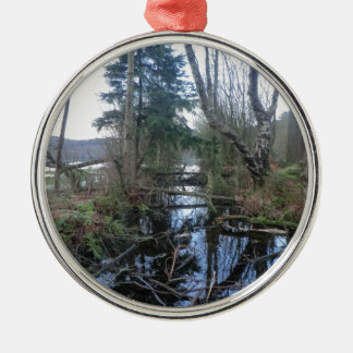 Cheshire Wetlands Round Metal Christmas Ornament