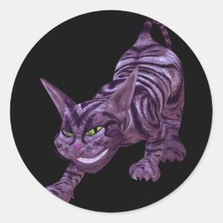 chesire cat classic round sticker