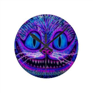 """""""CHESIRE CAT CLOCK"""" by CUSTOM CHAOS! Round Clock"""
