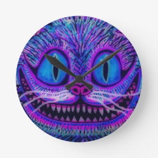 """""""CHESIRE CAT CLOCK"""" by CUSTOM CHAOS! Round Clocks"""