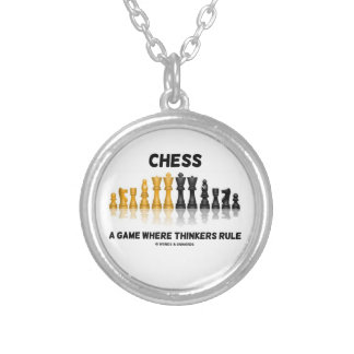 Chess A Game Where Thinkers Rule (Chess Set) Silver Plated Necklace