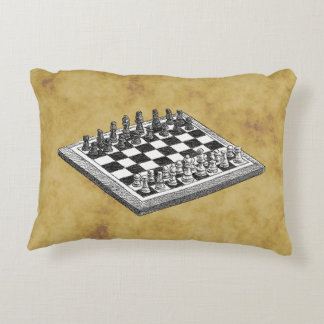Chess and Chess Board Vintage WBG Distressed Decorative Pillow