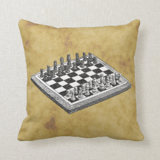 Chess and Chess Board Vintage WBG Distressed Throw Pillow