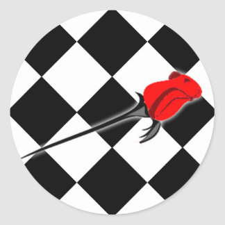Chess and Roses Gothic Wedding Classic Round Sticker