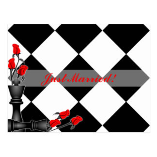 Chess and Roses Gothic Wedding Postcard