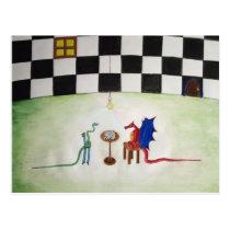 Chess between Dragon and Snake Postcard
