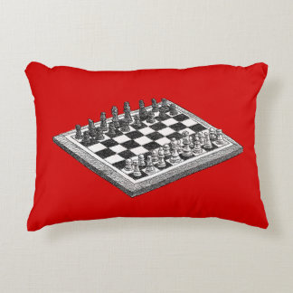 Chess Board and Chess Pieces Vintage Art Accent Pillow