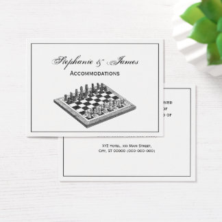 Chess Board and Chess Pieces Vintage Art Business Card