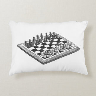 Chess Board and Chess Pieces Vintage Art Decorative Pillow