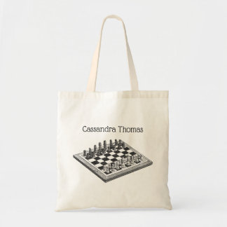 Chess Board and Chess Pieces Vintage Art Tote Bag