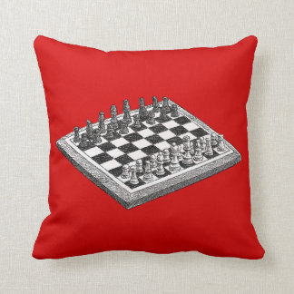 Chess Board and Chess Pieces Vintage Art WBG Throw Pillow