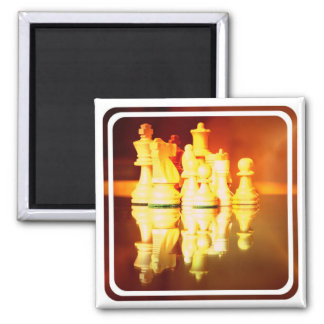 Chess Board and Pieces Square Magnet Magnet