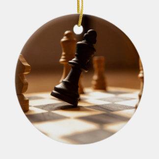 Chess board ceramic ornament