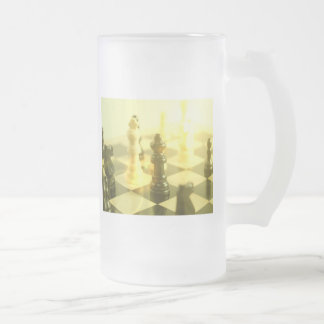 Chess Board Frosted Glass Beer Mug