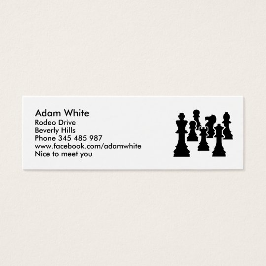 Chess board game mini business card