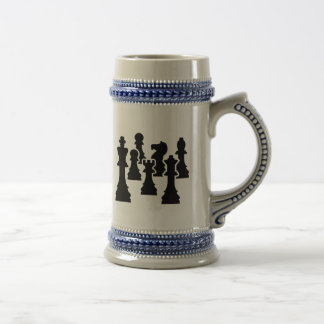 Chess board game 18 oz beer stein
