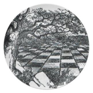 Chess Board in Wonderland Plate