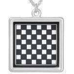 Chess Board Square Pendant Necklace