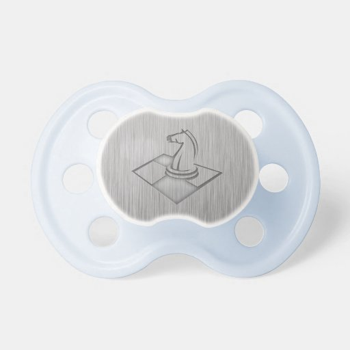 Chess; Brushed Metal-look Baby Pacifier