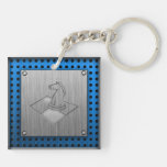 Chess; Brushed Metal-look Double-Sided Square Acrylic Keychain