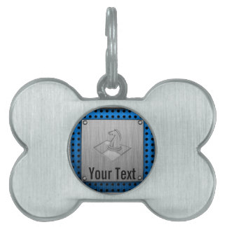 Chess; Brushed Metal-look Pet Tags