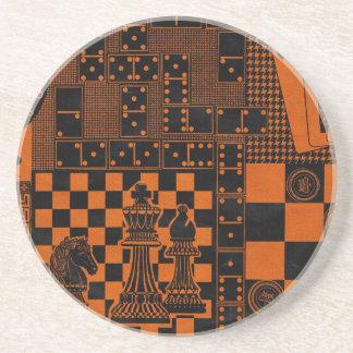 chess checkers dominos dominoes sandstone coaster
